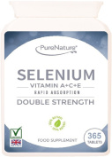 365 Selenium Double Strength Rapid Absorption Easy to Swallow Tablets Providing 400% Recommended Daily Allowance Plus Essential Vitamins A, C & E - 12 Month Supply Suitable for Vegetarians FREE UK Delivery