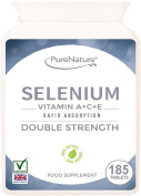 Selenium Double Strength Rapid Absorption Easy to Swallow Tablets Providing 400% Recommended Daily Allowance Plus Essential Vitamins A, C & E - 6 Month Supply Suitable for Vegetarians FREE UK Delivery