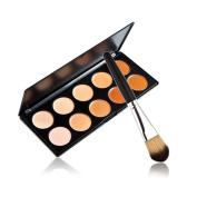 SONGQEE(TM) 10 Colours Contour Face Cream Makeup Concealer Palette + Powder Brush