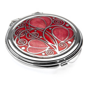 Compact Mirror - Rennie Mackintosh Leaves & Coils Design - Red/Fushia