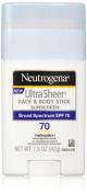 Neutrogena Sunscreen Ultra Sheer Stick SPF 70, 45ml