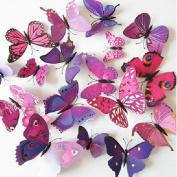 12pcs 3D Art Butterfly Decal Wall Sticker Home Decor Room Decoration