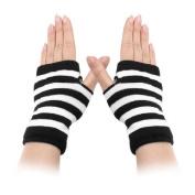 Move & Moving(TM) Lady Winter Striped Elastic Thumbhole Fingerless Acrylic Gloves White Black Pair
