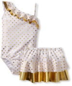 Bunz Kids Girls 2-6X Foil Hula Glitz One-Piece Swimsuit and Skirt Set, Gold/White, 6X Colour