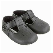 Baby Boys T Bar Pram Shoes with hole cut pattern - Made in England by Early Days Baypods