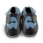 Snuggle Feet Blue Dinosaur Soft Leather Baby Shoes