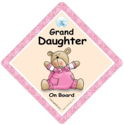 Granddaughter on board, Car Sign, Pink Quilt, Baby on Board Sign, baby on board, Bumper Sticker Style, Baby Car Sign, Baby Girl In Car Sign, Grandchild on Board Sign