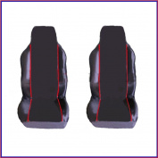 TOYOTA RAV 4 (2002-2006) PREMIUM FABRIC SEAT COVERS RED PIPING 1+1