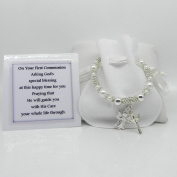 Girls First Holy Communion Bracelet with Angel & Crucifix