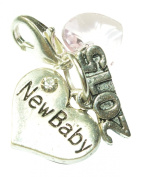 New Baby Clip on Charm and 2015 sign charm with Pink Crystal comes in Pink Gift Bag Handmade by Libby's Market Place