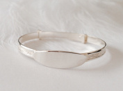 925 Solid Sterling Silver Baby Boy Girl ID Bangle Child's Baptism Christening Bracelet