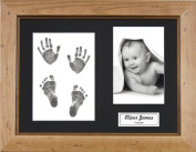 BabyRice New Baby Handprint Footprint Kit, Inkless Wipe with Rustic Pine Display Frame, Black Mount 0-3 yrs