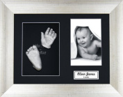 BabyRice Baby Casting Kit / 29cm x 22cm Antique Silver Frame / Black 3 Hole Mount / Black Backing / Silver Paint