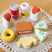 Homgaty 9Pcs Cake Biscuit Cookies Novelty Cute Food 3D Eraser Rubber Stationery Kids Gift Random style