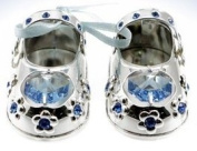 Baby Blue Crystal Shoes - Silver Plated with Blue. Crystal - Christening Gift