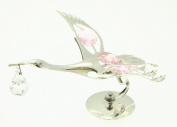 Christening Silver Plated Stork Pink Crystals For Girl