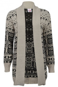 Womens Long Sleeves Front Open Skull & Owl Knitted Cardigan Top