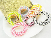 10pcs set colourful hair elastic (plastic spiral), hair rubber, telephone wire, elastic, hair accessories by the brand MyBeautyworld24
