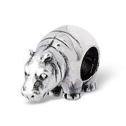 Silvadore - Silver Bead - Hippopotamus Hippo Animal Zoo Farm Creature Wild - 925 Sterling Charm 3D Slide On 735658 - Fits Pandora European Bracelet.