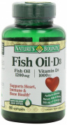 Nature's Bounty Omega 3 plus D3 Fish Oil 1200 mg Vitamin D 1000 IU Softgels 90 softgels
