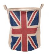 GreenForest® Fabric Linen Union Jack Basket Home organiser Round Basket, Natural