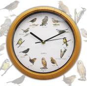 Battery Operated Musical 12 Song Singing Bird Home Round Analogue Wall Clock