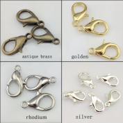 HYBEADS 100Pcs Mixed Colour 12mm Plated Lobster Clasp Findings Making For Jewellery