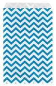 200 pcs Blue Chevron Paper Gift Bags Shopping Sales Tote Bags 15cm x 23cm Zig Zag Design-Caddy Bay Collection