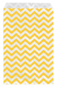 200 pcs Yellow Chevron Paper Gift Bags Shopping Sales Tote Bags 15cm x 23cm Zig Zag Design-Caddy Bay Collection