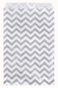 200 pcs Chevron Paper Gift Bags Shopping Sales Tote Bags 15cm x 23cm Shimmering Silver Zig Zag Design-Caddy Bay Collection