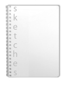 "BookFactory® SketchBook / Art Sketch Book / Sketching Book / Sketches Book / Sketch Notebook - 100 Pages, Clear Translux Cover, Wire-O, 5"" x 7"" (12.7cm x 17.7cm), Blank Format"