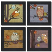 Awesome Owls Set by Paul Brent 20cm x 20cm Art Print Poster