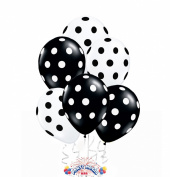 Balloons 28cm Premium Latex Crystal Clear with Black Polka Dots and Black with White Polka Dots Pkg/100