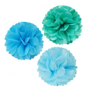 Allydrew 30cm Set of 3 Tissue Pom Poms Party Decorations for Weddings, Birthday Parties Baby Showers and Nursery Décor, Aqua/Blue/ Light Blue