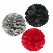 Allydrew 30cm Set of 3 Tissue Pom Poms Party Decorations for Weddings, Birthday Parties Baby Showers and Nursery Décor, Red/Black/ Silver