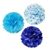 Allydrew 30cm Set of 3 Tissue Pom Poms Party Decorations for Weddings, Birthday Parties Baby Showers and Nursery Décor, Blue/ Navy/ Blue Polka Dots