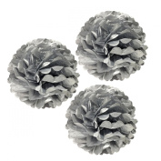 Allydrew 30cm Set of 3 Tissue Pom Poms Party Decorations for Weddings, Birthday Parties Baby Showers and Nursery Décor, Metallic Silver