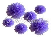 LolaSaturdays Paper Pom Poms 3 Sizes 6 Pack Lavender