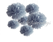 LolaSaturdays Paper Pom Poms 3 Sizes 6 Pack Silver
