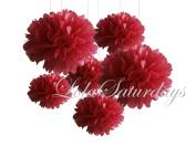 LolaSaturdays Paper Pom Poms 3 Sizes 6 Pack Red