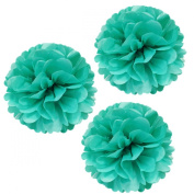 Allydrew 36cm Set of 3 Tissue Pom Poms Party Decorations for Weddings, Birthday Parties Baby Showers and Nursery Décor, Aqua
