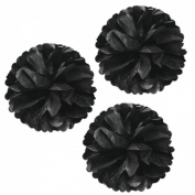 Allydrew 36cm Set of 3 Tissue Pom Poms Party Decorations for Weddings, Birthday Parties Baby Showers and Nursery Décor, Black