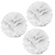 Allydrew 36cm Set of 3 Tissue Pom Poms Party Decorations for Weddings, Birthday Parties Baby Showers and Nursery Décor, White