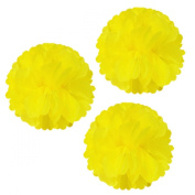 Allydrew 36cm Set of 3 Tissue Pom Poms Party Decorations for Weddings, Birthday Parties Baby Showers and Nursery Décor, Yellow