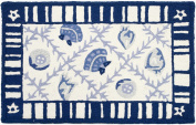 Jellybean 50cm x 80cm Accent Rug Navy Blues with Memory Foam Blue and White