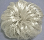 LACEY 7.6cm Pony Fastener Hair Scrunchie Grey 60-Silver White