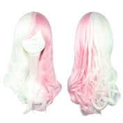 Xcoser Danganronpa Monomi Cosplay Long Wavy Pink White Mixed Colour Anime Wig