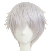 Xcoser Famous Game TR Nakigitsune Short Silver White Anime Wig For Cosplay