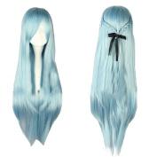 Xcoser Alfheim Online Asuna Cosplay Wig Long Straight Light Blue Wig