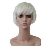 Bigood 12cm Chemical fibre Neat bang White Short wig